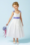 Cute Satin V Neck Tea Length Straps Bows Flower Girl Dress