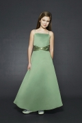 Green Satin Spaghetti Straps A Line Pick Up Skirt Flower Girl Dress