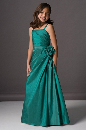 Dressesmall Chic Dark Green Taffeta With Straps Floor Length Flower Girl Dress