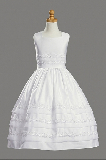 Dressesmall White Satin Ball Gown Appliques Knee Length Flower Girl Dress