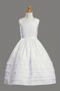 White Satin Ball Gown Appliques Knee Length Flower Girl Dress