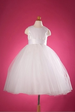 Robe mariage enfant princesse simple en satin & tulle
