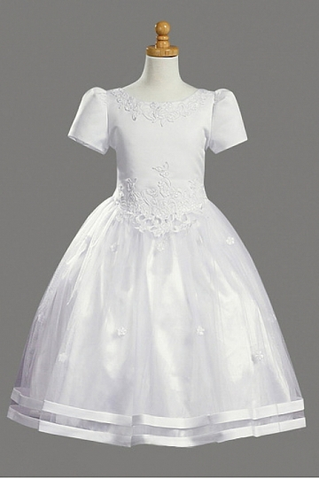 Dressesmall Chic Satin Princess Scoop Appliques Flower Girl Dress With Sleeves