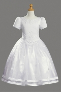 Chic Satin Princess Scoop Appliques Flower Girl Dress With Sleeves