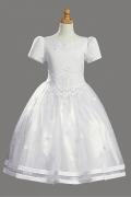 Vintages Prinzessin Rund-Ausschnitt weißes Kommunionskleider