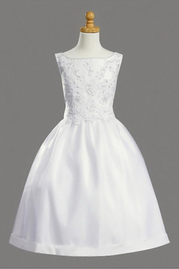 Dressesmall Modern White Bateau Princess Satin Knee Length Flower Girl Dress