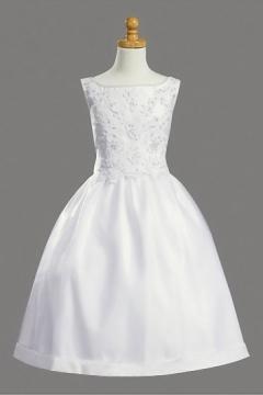 Robe mariage enfant encolure bateau princesse ornée de applique