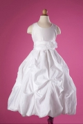 Modern White Bateau Princess Satin Knee Length Flower Girl Dress