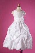 Robe mariage enfant encolure ronde princesse en taffetas