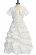 Elegantes A-Linie Ivory Kommunionskleider mit Jacke