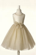 Chic Champagne A Line Scoop Knee Length Flower Girl Dress With Bow