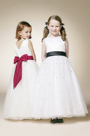 Dressesmall Chic Bow Scoop Princess Floor Length Empire Flower Girl Dress