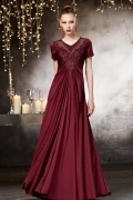 Vintage Red V neck A line Evening Dress With Sleeves