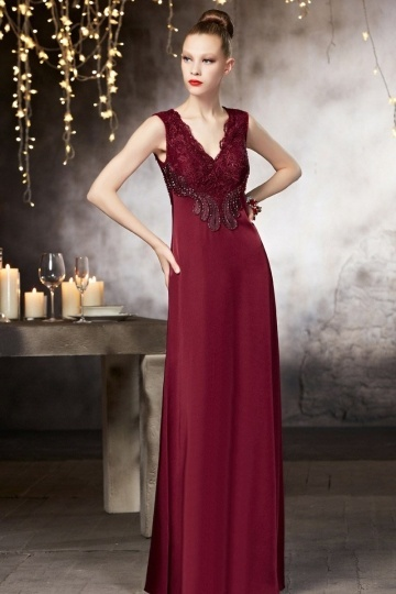 Dressesmall Vintage V neck A line Floor Length Beading Evening Dress