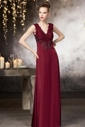 Vintage V neck A line Floor Length Beading Evening Dress