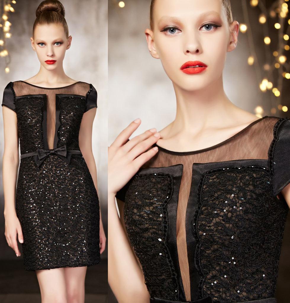 Elegant Little Black Dress for Evening in sequins