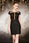 Black Simple Column Short Evening Dress with Short Sleeves