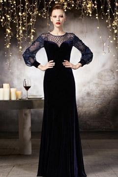 Robe bleu nuit pour soirée en tissu velours à manche semi-transparente