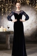 Royal Embroidery A Line Evening Dress with Long Sleeves