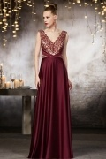 Sexy Red V neck A Line Floor Length Lace Evening Dress