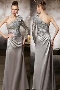 Gorgeous Gray One Shoulder Flowers Evening Dress With Sleeves