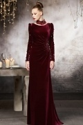 Vintage Bateau Sweep A Line Evening Dress with Long Sleeves