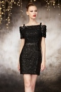 Sexy Bateau Black Column Lace Sequins Evening Dress