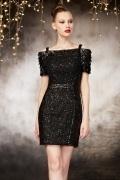 Hübsches Schwarzes Boot Ausschnitt Etui Linie Abendkleid mit kurz Ärmel