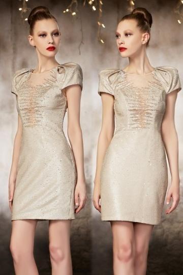 Sexy Etui Linie champagnes Kurzes Abendkleid mit Perle verziert Persun