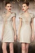 Modern Column Sequins Short Scoop Beading Evening Dres