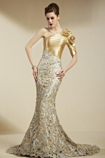 Luxus Meerjungfrau 1 Schulter Blume verziertes Abendkleid aus Spitze Persun