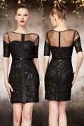 Chic Sequins Black Column Evening Dress With Short Sleeves