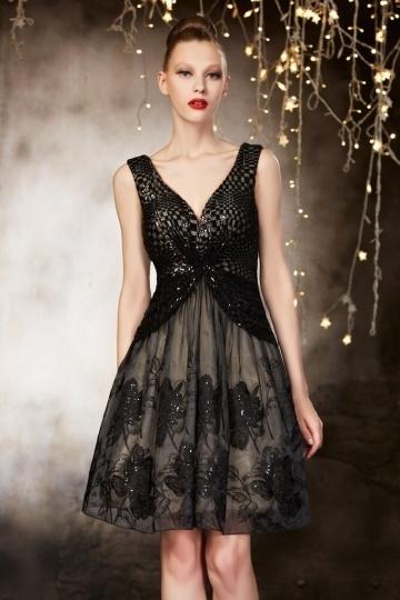 Sexy Herrlich Kurzes V Ausschnitt Ruching Abendkleider aus Spitze Persun