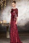 Vintage Sheath Red Floor Length Lace Evening Dress