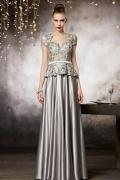 Elegantes Graues Herz Ausschnitt Blumen Perlen Abendkleid aus Satin