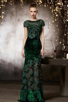 Robe de soirée sexy haute couture en dentelle transparente