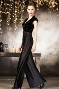 Gorgeous Black V neck Floor Length Sequins Evening Dress