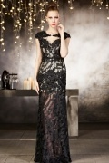 Sexy Black Column Lace Beading Natural Evening Dress