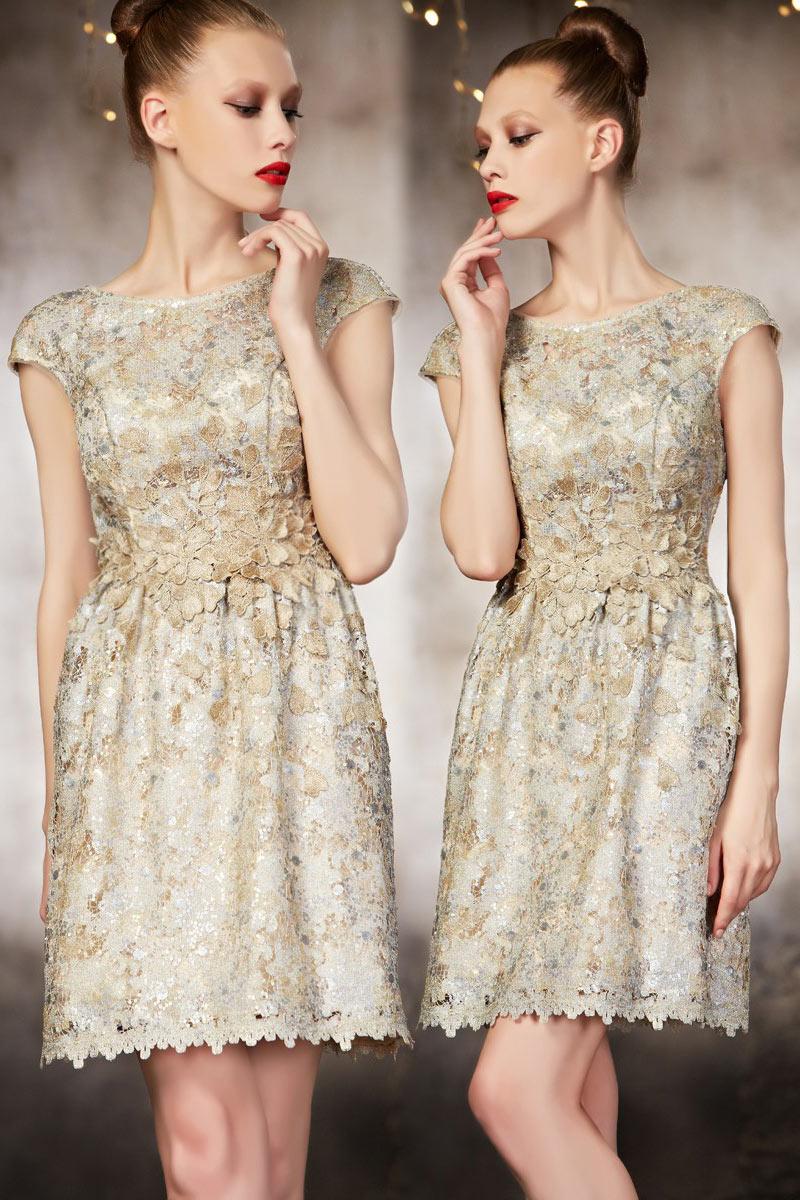 Delicat Golden Cocktail Dress Haute Couture