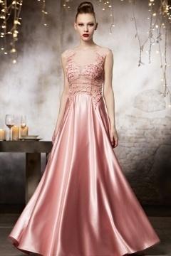 Robe de soirée 2015 en couleur roseà dos transparent