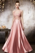 Sexy Pink Flowers A line Floor Length Evening Dress