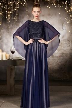Robe soirée bleu haute couture en tulle à haut travaillé