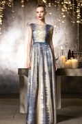 Gorgeous Champagne A line Floor Length Evening Dress