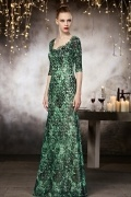 Vintage Sweetheart Green Floor Length Evening Dress