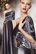 Samt 1 Schulter A Linie Bodenlanges Graues Abendkleid mit Perle