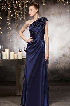 Elégante Robe de soirée bleu en tissu satin soyeux