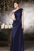 Blaues 1-Schulter Etui-Linie Bodenlanges Ärmelloses  Abendkleid aus Satin