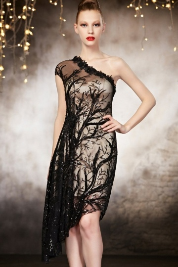 Dressesmall Black Sequins One Shoulder A line Lace Evening Dress