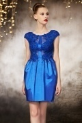 Sexy Taffeta Sheath Blue Short Beading Evening Dress