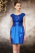 Elegantes Cap Ärmel Blaues Rund Ausschnitt Pleated Abendkleid aus Taft